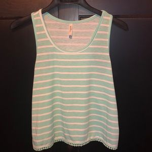 Tank top green and white striped size Small